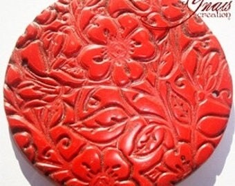 Red polymer clay flat beads
