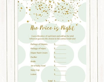 20% OFF Mint Green and Gold Confetti Price is Right Baby Shower Game, The Price is Right Baby Shower Game, Mint Dots Instant Download PDF Pr
