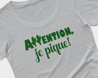 French t-shirt, attention je pique, cactus shirt, funny tee by Felicianation Ink
