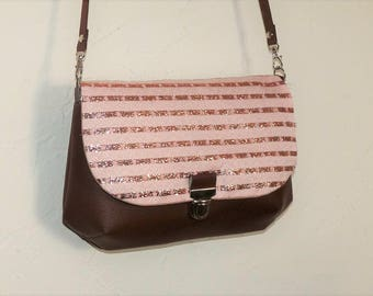 chocolate brown leather messenger and tweed rose/striped copper pockets style satchel shoulder bag