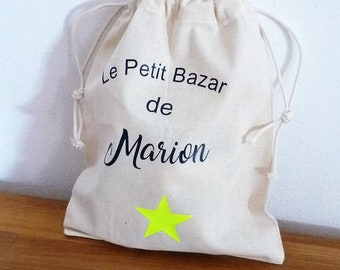 small pouch/bag slides in beige linen customizable name, for treasures, blanket, Toy storage, lingerie star neon yellow