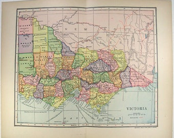 Vintage 1903 Map of Victoria, Australia by Dodd Mead & Company. Antique Original Map