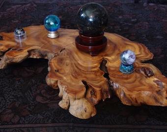 Gorgeous Rare Elm Burl Live-Edge Wood Slab Altar Table Feet Legs Stand Crystal Display Shelf Gaia Energy Rustic Reclaimed Natural Solid Raw
