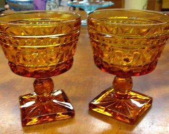Vintage Set Of 2 Amber Goblets, Indiana Glass, Park Lane