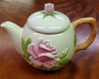 Vintage Pink Floral Teleflora Teapot, Vintage Collectible Teapot