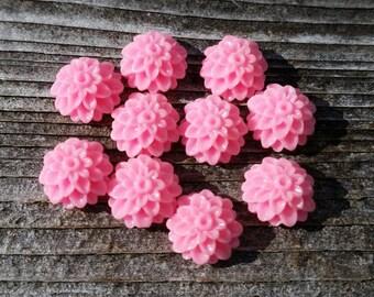 10mm Pink Dahlia Resin Cabochon