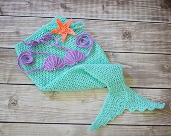 Handmade mermaid tail, baby shower gift, baby mermaid tail, crochet mermaid tail, mermaid costume, seashell bikini top
