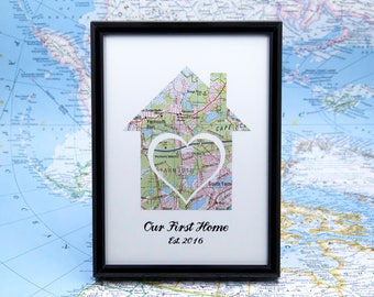 Our First Home Map, Realtor Gifts, 1st Home Gift Ideas, Wife Map Gift, 1st Anniversary Map, Housewarming Gift, New Home Map Gift for Couple