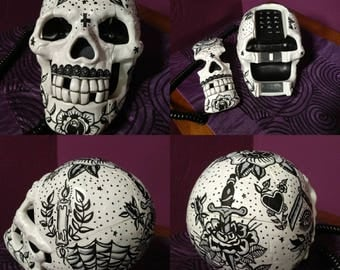 Old School Tattoo Skull Telephone