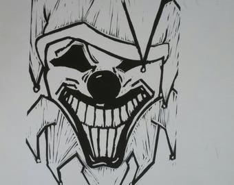 Clown Linoleum Block Print