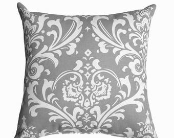 SALE Grey Pillow Cover - Damask Decorative Throw Pillow Cover - Grey and White Pillow Cover - Cushion Cover - Accent Pillow Cover