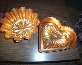Vintage, Copper Molds, Bundt Cake Molds, Copper Heart Mold, French Country, Farmhouse, Rustic, Country Cottage, Gift for Her, Kitchen Decor