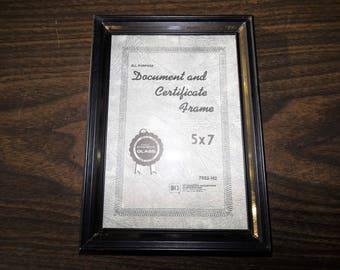 Vintage Metal Frame, Photo Frame, Certificate, Black Frame, French, Industrial, Gift for Her, Gift for Him, Gold Frame, Document Holder,