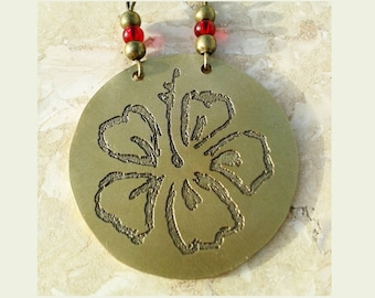 Brass Hibiscus necklace;Round brass pendant with hand drawn flower made with acid etching; Floral Necklace; Exotic Hawaii tribal jewelry