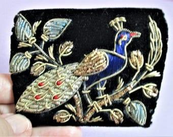 Vintage Razia Zardozi Peacock Velvet Coin Purse Indian Gold Metallic Thread Embroidery from India Pocketbook Accessory Vintage Collectible