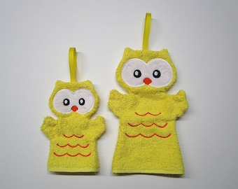Mitt washcloth bath toiletries for children 2-5 years old little /Hibou /Gant / 5 years more large glove and mitten toilet embroidery