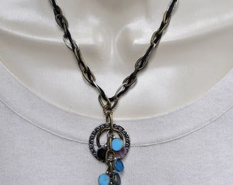 Silver Bronze and Aqua Pendant Necklace and Earring Set