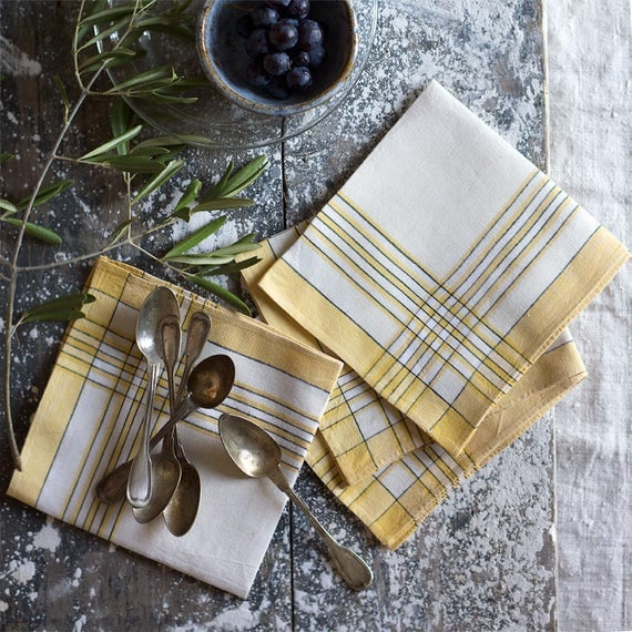 French Linen Yellow Border Napkins - set of 4