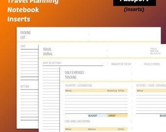 Passport Travel Planner printable - both traveler's notebook inserts (just print, fold, cut and use) and separate insert designs