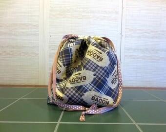 Bacon - Large Drawstring, Divided Knitting Project Bag, Crochet Bag, Sweater Project Bag, Knitting Organizer, Pigs