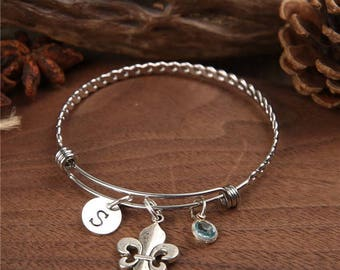 Fleur de lis Bangle, Fleur de lis Bracelet, French Jewelry, Personalized bracelet, Birthstones Bangle, Bridesmaid Gift, Initial bangle, Gift