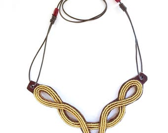 Beaded Leather Bib Necklace