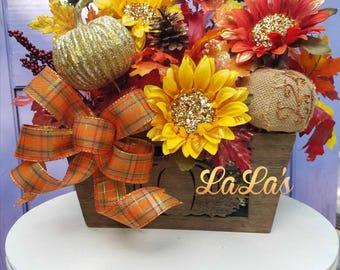 Fall Centerpiece Table Arrangement- Fall Table Decor- Fall Flower Arrangement- Fall Floral Arrangement- Sunflowers, Pumpkins-