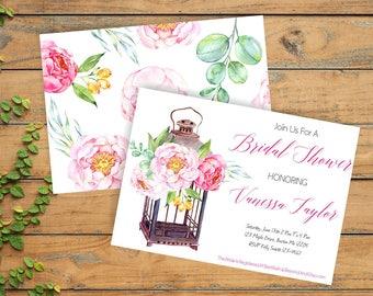 printable bridal shower invite, watercolour shower invitation, country bridal shower invite, boho wedding shower invite, card- br66