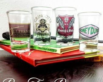 Hogsmeade and Diagon Alley Shops Shot Glasses   Harry Potter   Ollivander's   Gringotts   Flourish &  Blotts   Honeydukes