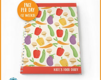 Slimming World Food Diary, SW compatible. Personalised food / weight-loss journal. 'Vitalised Veg' pattern 12 weeks - page per day.
