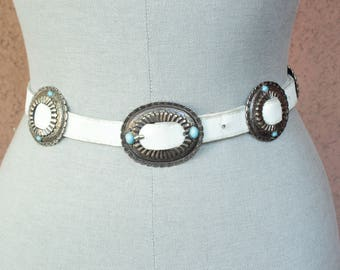 1970's White leather Concho Belt