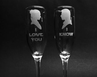 "Star Wars Princess Leia and Han Solo Quote ""I Love You/I Know"" Champagne Flute Set of 2"