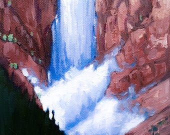Original Oil Painting, Trees, Hills, Waterfall, Summer, River, Mountains, Blue, Red, Small Painting, Framed, Landscape