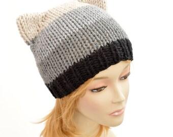 Strip Cat Hat, Cat Ear Beanie, Strip Hat, Cat Ears, Cat Ear Hat, Multicolor Cat Beanie, Womens Hats, Bonnet Femme, Ear Hat, Knit Hat