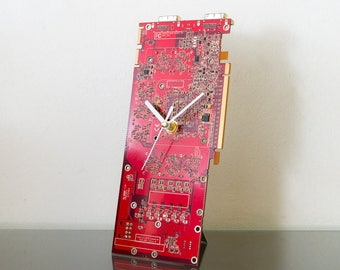 Red Circuit Board Clock, Husband Gift, Unique Desk Clock, Industrial Clock, Recycled Computer Clock, Unique gift, Boyfriend Gift, Desk Clock
