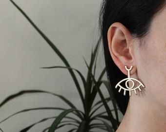 Evil Eye earrings / Brass Jewelry / Statemen earrings / Drop earrings / Boho jewelry