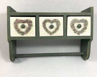 Wooden Paper Towel Holder with Drawers & Shelf - Moss Green - Floral Heart Wreaths - Distressed Country Kitchen Decor - Farmhouse Cloth Rack