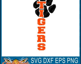 Tigers| Vertical SVG| DXF| EPS| Cut File| Mom| Dad| Paw| Silhouette| Cricut| Vector File| Instant Download