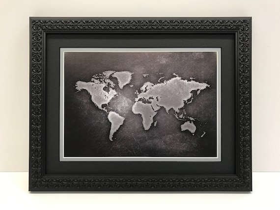 Framed world map world map art black gray world map like this item gumiabroncs Image collections