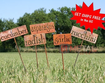 Set of 7 Classic Metal Garden Markers, garden marker, garden label, vegetable marker, plant marker, gift for her, gift for him, herb garden