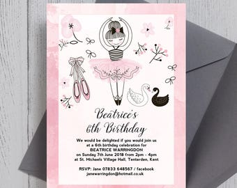 Personalised Pink and White Prima Ballerina Kids Party Invitation and envelope