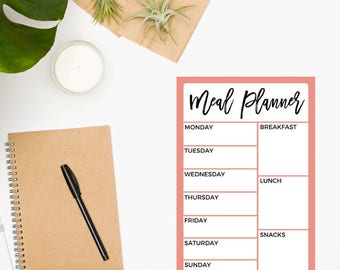 Meal Planning Notepad / Weekly Meal Plan / Meal Planner / Food Planner / Menu Planner / Meal Planner / Dinner Planner / Meal Tracker / Coral