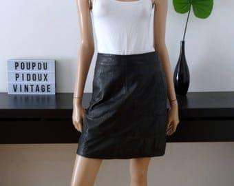 Jupe cuir noir taille 36 / uk 8 / us 4