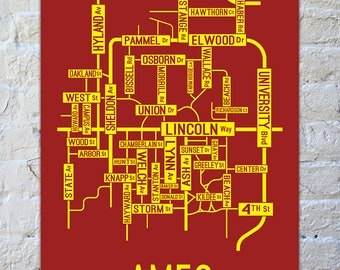 Ames, Iowa Street Map Poster - College Town Maps