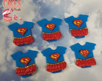 Supergirl Onesie Fondant Cupcake Toppers: Set of 6 (MADE TO ORDER)