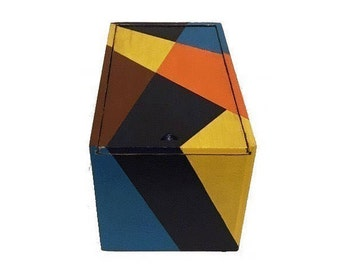 Painted Wooden Cigar Box Geometric Design Small Storage Jewelry Box Up-Cycled Keepsake Blue Navy Orange Brown Yellow