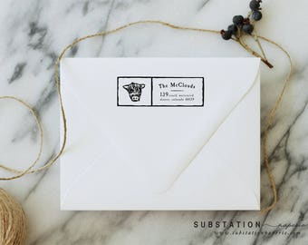 Cow Return Address Stamp - Highland Cow - Rubber Stamp - Housewarming Gift - Personalized - Farm Stamp - Scotland