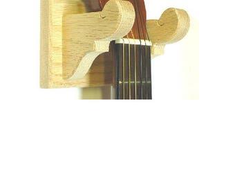 Oak Guitar Hanger Classy Wall Mount Display - Unfinished Wood