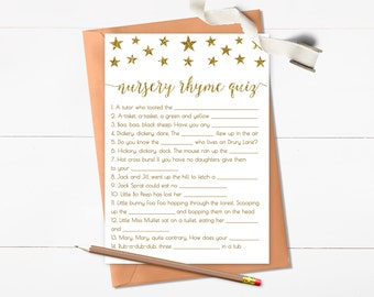 Twinkle Little Star Nursery Rhyme Quiz Baby Shower Game, Nursery Rhyme Game, Gold Glitter Baby Shower Game, Printable, Digital - SG1