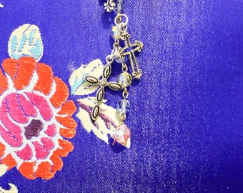 Cross stained glass bead keychain